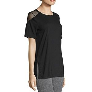 Black Xersion Mesh Side Slit Tee, small NWT